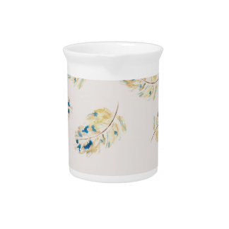 Watercolour  feather pattern beverage pitchers