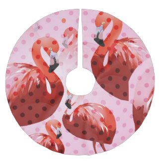 Watercolour Flamingo Pattern Brushed Polyester Tree Skirt