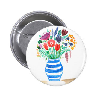 Watercolour Floral Blue Vase, Bright Flowers 2 Inch Round Button