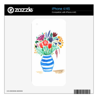 Watercolour Floral Blue Vase, Bright Flowers Decal For iPhone 4