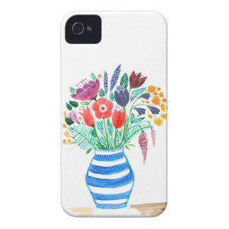 Watercolour Floral Blue Vase, Bright Flowers iPhone 4 Cover