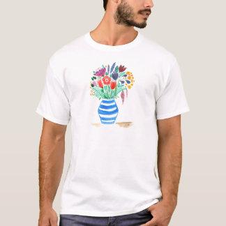 Watercolour Floral Blue Vase, Bright Flowers T-Shirt