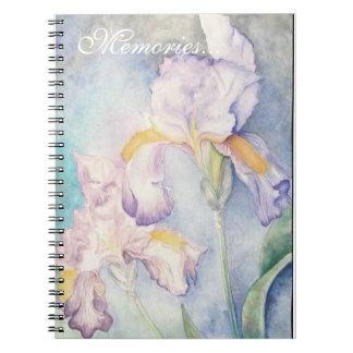 Watercolour floral de los iris más suaves libreta