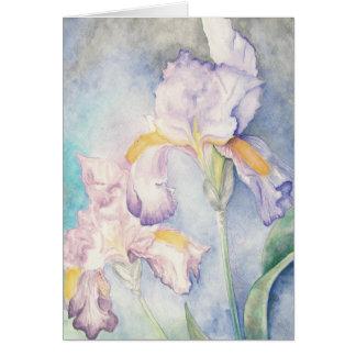 Watercolour floral de los iris más suaves tarjeta pequeña