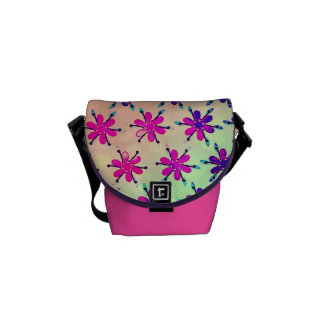 Watercolour flower patterned bag small pink