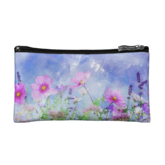 Watercolour flowers cosmetic bags