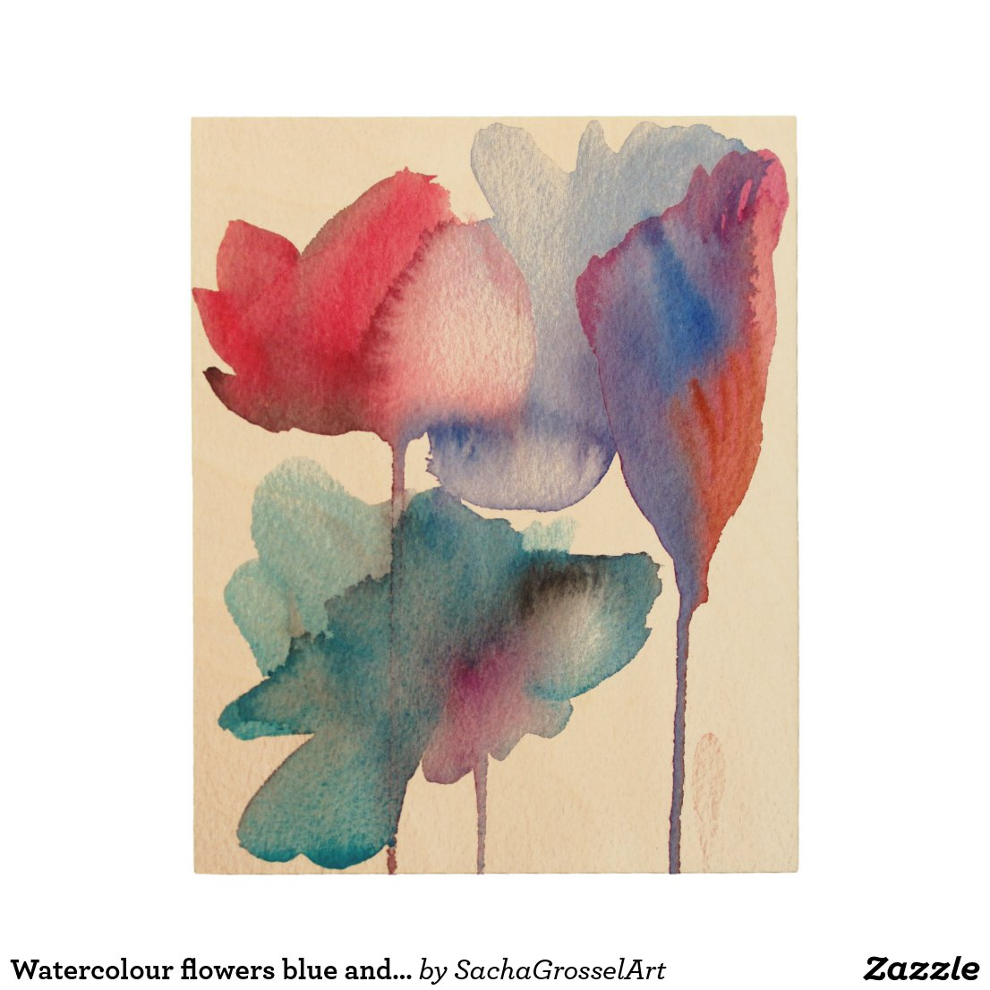 Watercolour flowers blue and crimson modern floral wood print