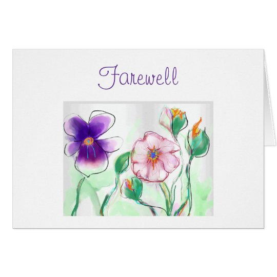 Watercolour Flowers>Farewell Card