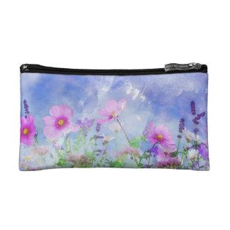 Watercolour flowers makeup bag