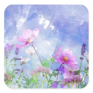 Watercolour flowers square sticker