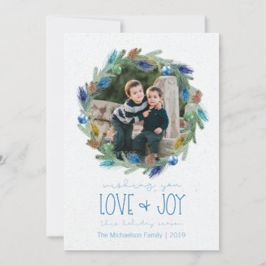 Watercolour Foliage Peacock Feather Wave Photo Holiday Card