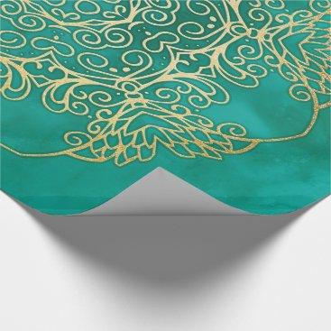 Aqua Watercolour & Gold Mandala Wrapping Paper