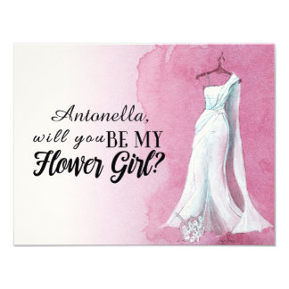 "Watercolour Gown  ""Will you be my flower girl"" Card"