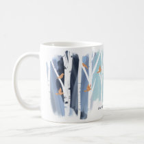 Watercolour Grey Wash Birch Trees & Gold Doves Coffee Mug