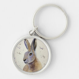 Watercolour Hare Keychain
