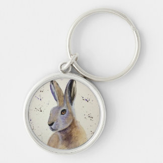 Watercolour Hare Silver-Colored Round Keychain