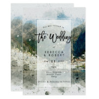 watercolour Italy Amalfi modern wedding invitation