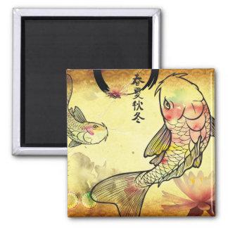 Watercolour Koi 2 Inch Square Magnet