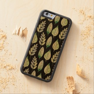 Watercolour Leaves Pattern Carved® Cherry iPhone 6 Bumper