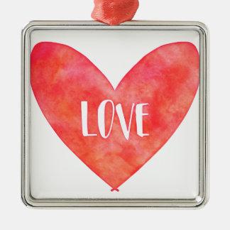 Watercolour Love Heart Typography Metal Ornament