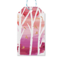 Watercolour Magenta Wash Birch Trees & Gold Doves Gift Tags