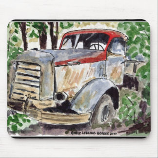 Watercolour of old truck mouse pad