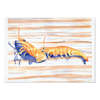 Watercolour of Shrimp on a dock, fishing bait Card