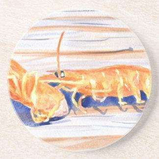 Watercolour of Shrimp on a dock, fishing bait Coaster