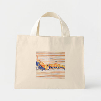 Watercolour of Shrimp on a dock, fishing bait Mini Tote Bag