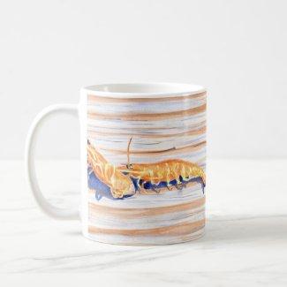 Watercolour of Shrimp on a dock, fishing bait mug