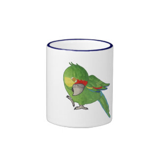 Watercolour parrot ringer coffee mug