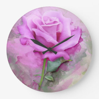 Watercolour Pastel Lilac Rose Large Clock