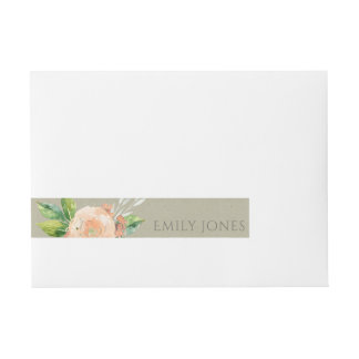 WATERCOLOUR PEACH FLOWER GREEN FOLIAGE MONOGRAM WRAP AROUND ADDRESS LABEL