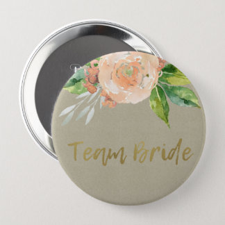 WATERCOLOUR PEACH FLOWER GREEN FOLIAGE TEAM BRIDE PINBACK BUTTON