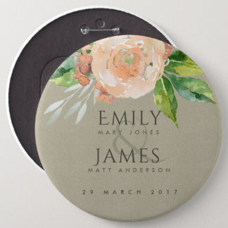 WATERCOLOUR PEACH FLOWER GREEN FOLIAGE WEDDING PINBACK BUTTON