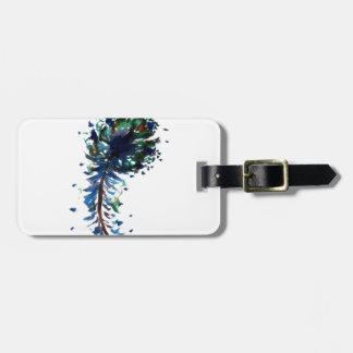 Watercolour peacock feather design bag tag