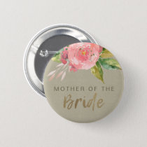 WATERCOLOUR PINK FLOWER FOLIAGE MOTHER OF BRIDE BUTTON