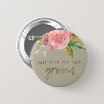 WATERCOLOUR PINK FLOWER FOLIAGE MOTHER OF GROOM BUTTON