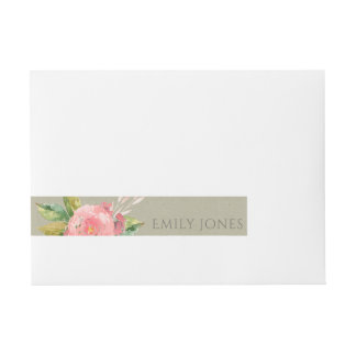 WATERCOLOUR PINK FLOWER GREEN FOLIAGE MONOGRAM WRAP AROUND ADDRESS LABEL