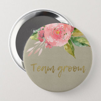 WATERCOLOUR PINK FLOWER GREEN FOLIAGE TEAM GROOM PINBACK BUTTON