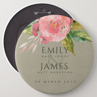 WATERCOLOUR PINK FLOWER GREEN FOLIAGE WEDDING PINBACK BUTTON