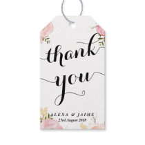 Watercolour Pink Peonies Pattern Floral Thank You Gift Tags