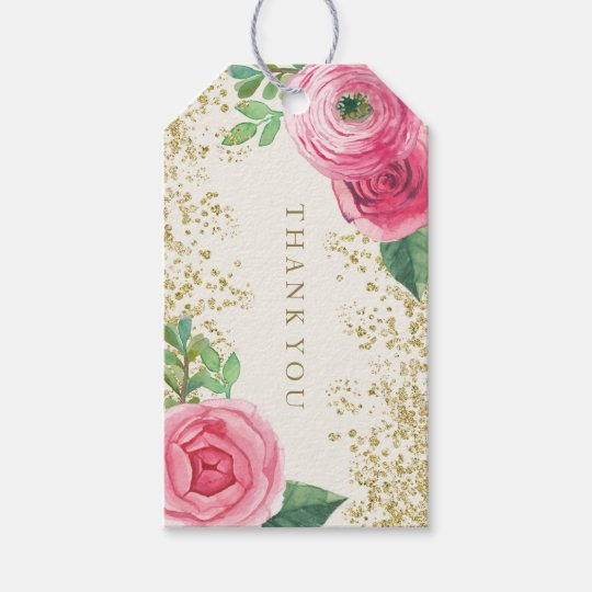Wedding Favor Hanging Gift Tags : Watercolour Pink Roses Wedding Favor Gift Hang Tag Zazzle
