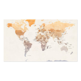 Watercolour Political Map of the World Double-Sided Standard Business Cards (Pack Of 100)