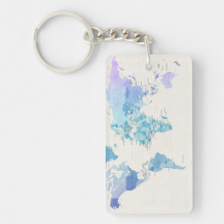 Watercolour Political Map of the World Keychain