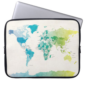 Watercolour Political Map of the World Laptop Sleeve
