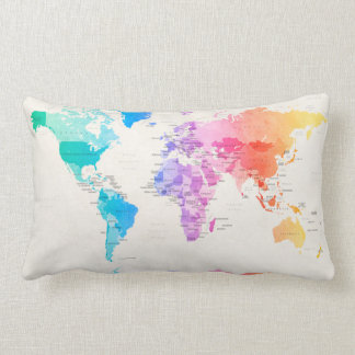 Watercolour Political Map of the World Lumbar Pillow