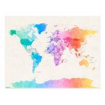 Watercolour Political Map of the World Post Cards