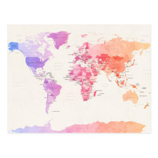 Watercolour Political Map of the World Postcard
