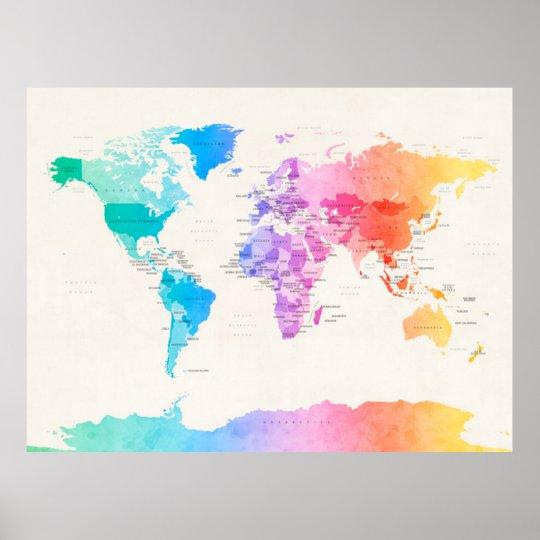 Watercolour Political Map of the World Poster   Zazzle.com